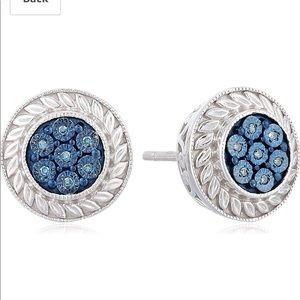 Jewelili Sterling Silver and Blue Diamond Earrings